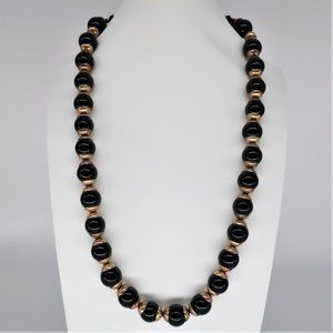 J. Crew Black and Gold Bead Cap Back Tie Necklace